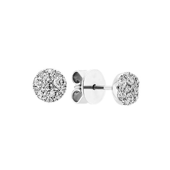 Round Diamond Cluster Earrings in 14k White Gold