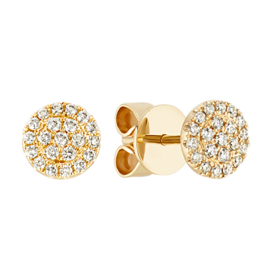 Round Diamond Cluster Earrings in 14k Yellow Gold