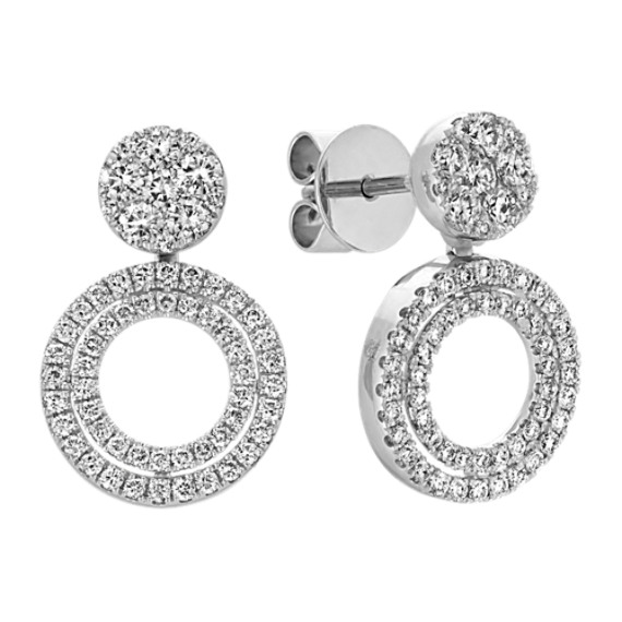 Round Diamond Double Circle Cluster Earrings