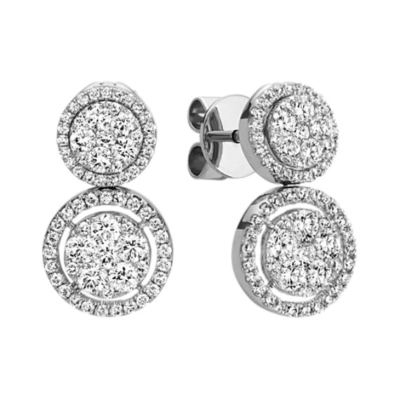 Round Diamond Double Circle Multiple Look Cluster Earrings