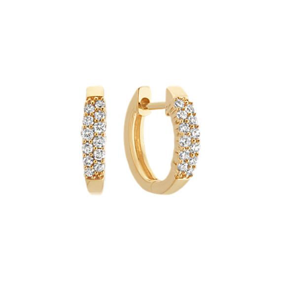 Round Diamond Double Row Hoop Earrings in 14k Yellow Gold