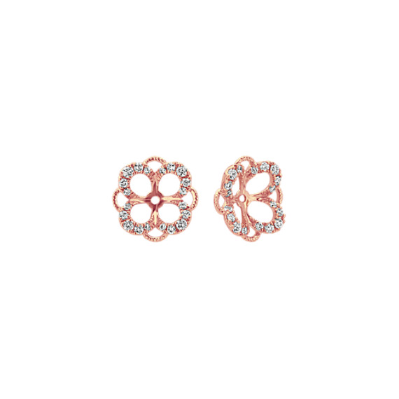 Round Diamond Earring Jackets in 14k Rose Gold