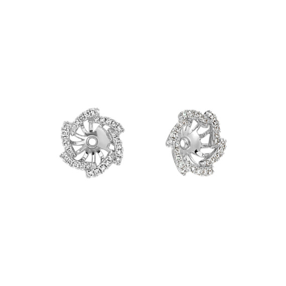 Round Diamond Earring Jackets In 14k White Gold