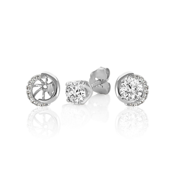 Round Diamond Earring Jackets in 14k White Gold image