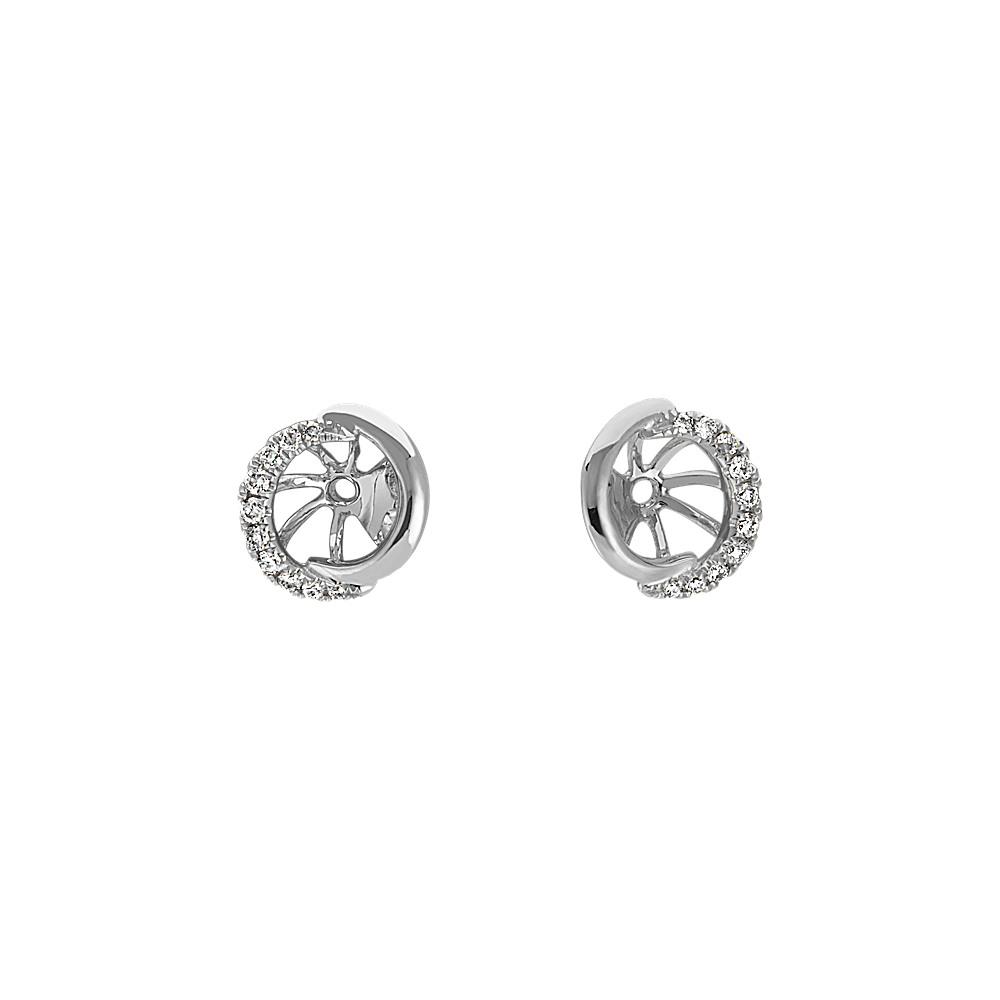 Round Diamond Earring Jackets in 14k White Gold | Shane Co.