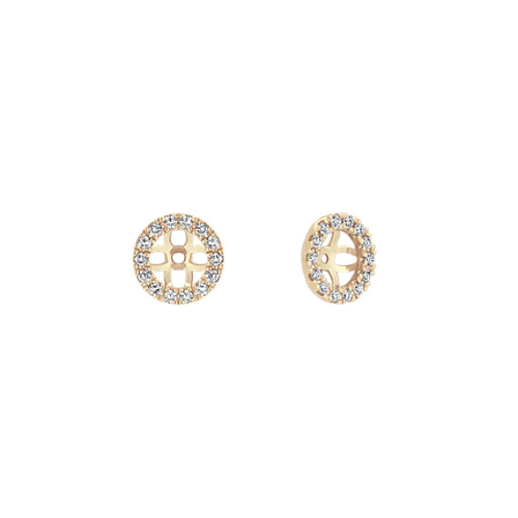 Round Diamond Earring Jackets in 14k Yellow Gold