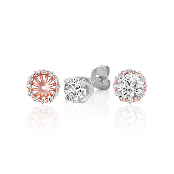 Round Diamond Earring Jackets in Rose Gold image