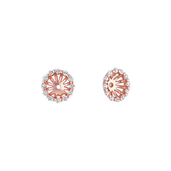 Round Diamond Earring Jackets in Rose Gold