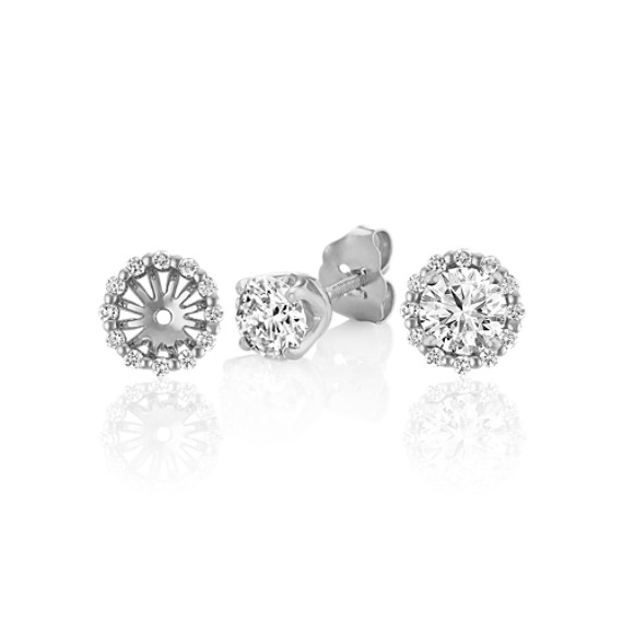 Round Diamond Earring Jackets in White Gold image