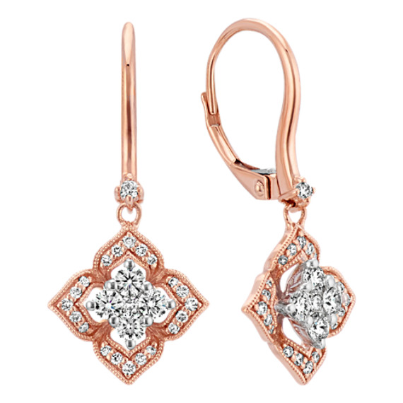 Round Diamond Floral Dangle Earrings in 14k Rose Gold