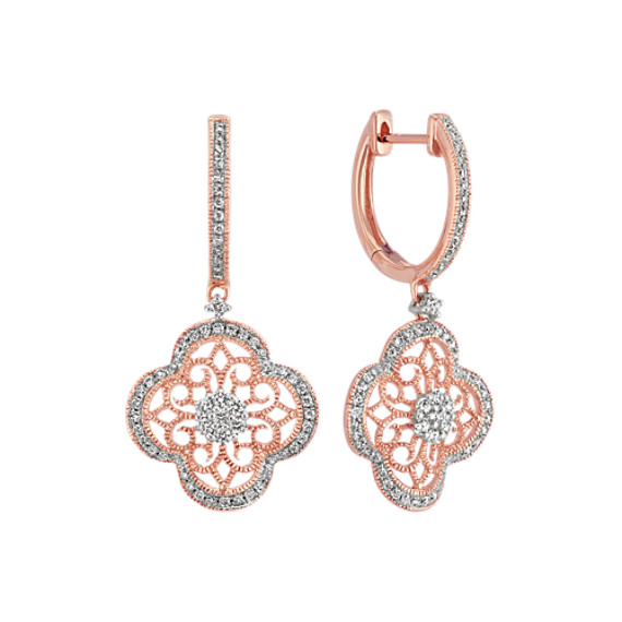 Round Diamond Floral Vintage Earrings in 14k Rose Gold