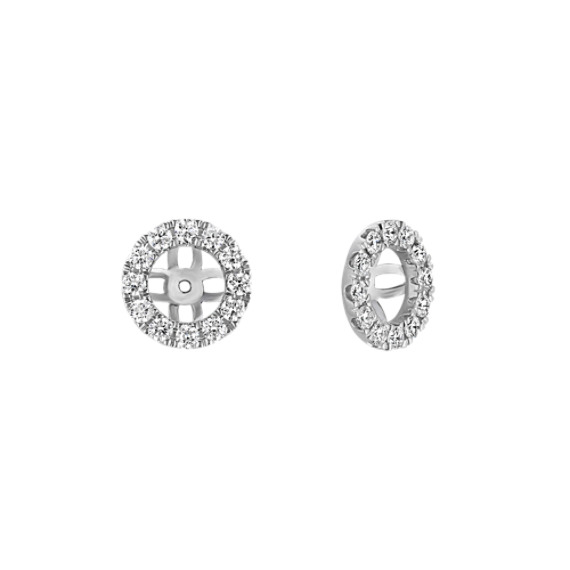 Round Diamond Halo Earring Jackets in 14k White Gold