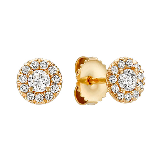 Round Diamond Halo Earrings in 14k Yellow Gold