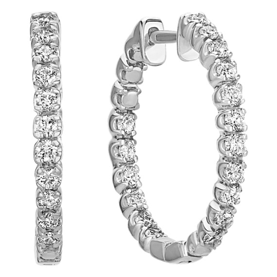 Round Diamond Hoop Earrings in 14k White Gold image