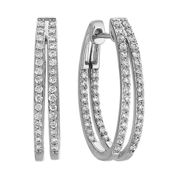 Round Diamond Split Hoop Earrings in 14k White Gold