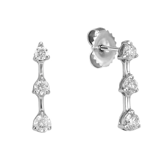 Round Diamond Three-Stone Earrings