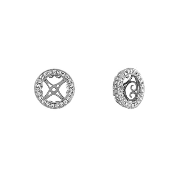 Round Diamond Vintage Earrings Jackets In 14k White Gold