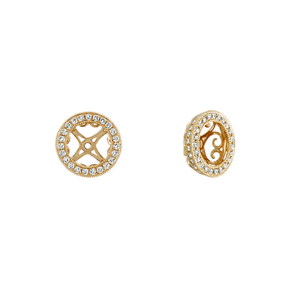 Round Diamond Vintage Earrings Jackets in 14k Yellow Gold