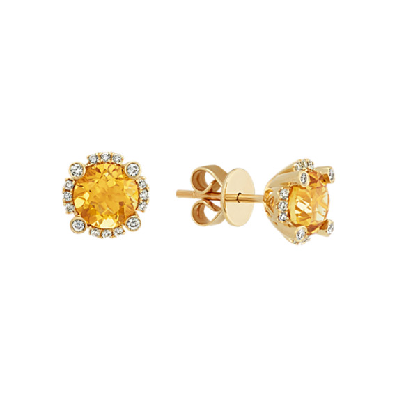 Round Gold Citrine and Diamond Earrings in 14k Yellow Gold