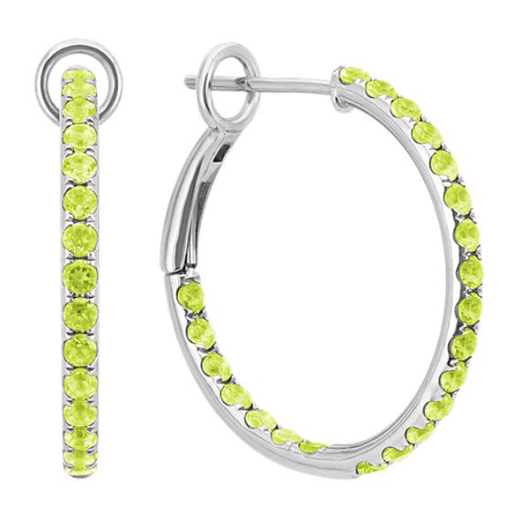 Round Green Peridot Hoop Earrings
