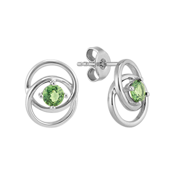 Round Green Sapphire Eclipse Earrings in Sterling Silver