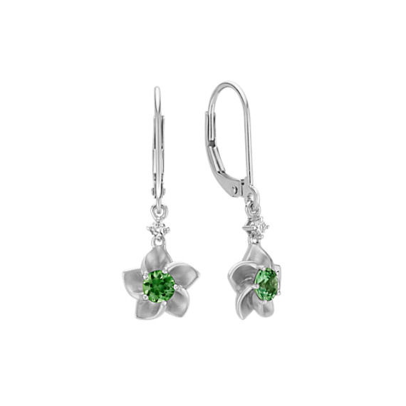 Round Green Sapphire and Round Diamond Flower Leverback Earrings