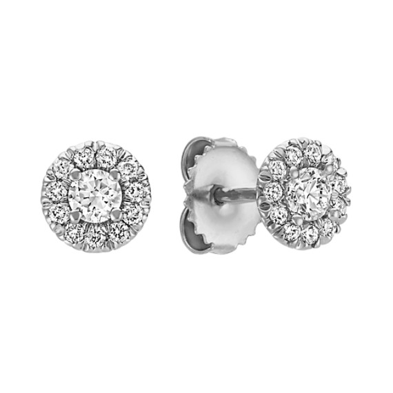 Round Halo Diamond Earrings in 14k White Gold