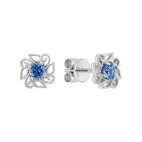 Kentucky Blue Sapphire Flower Earrings