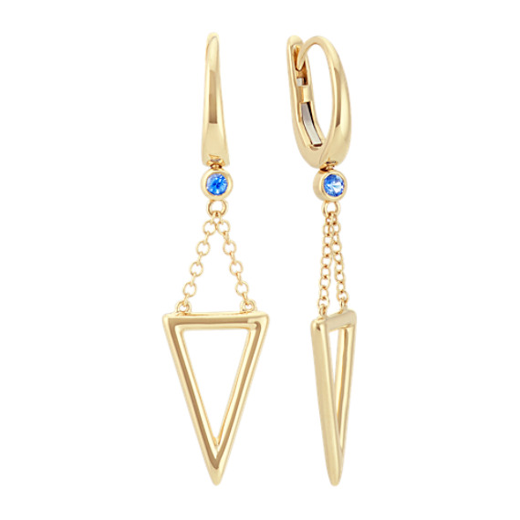 Round Kentucky Blue Sapphire and Triangle Leverback Earrings