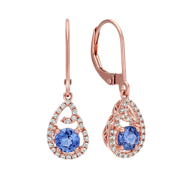 Round Kentucky Blue and Diamond Earrings in 14k Rose Gold