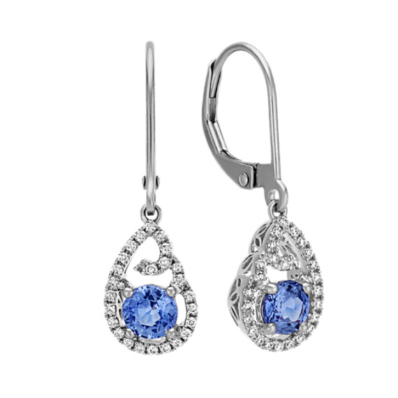 Round Kentucky Blue and Diamond Earrings in 14k White Gold