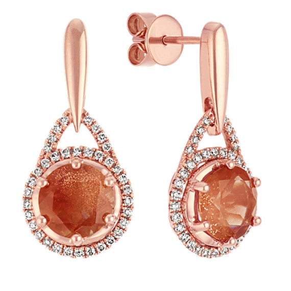 Round Oregon Sunstone and Round Diamond 14k Rose Gold Dangle Earrings