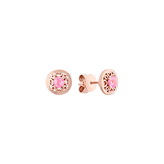 Round Pink Sapphire Earrings in 14k Rose Gold