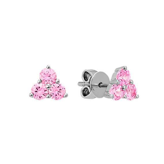 Round Pink Sapphire Earrings in Sterling Silver
