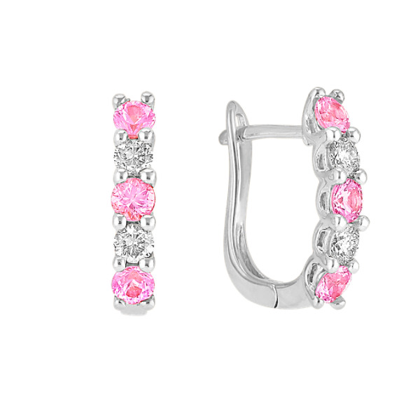 Round Pink Sapphire and Diamond Hoop Earrings