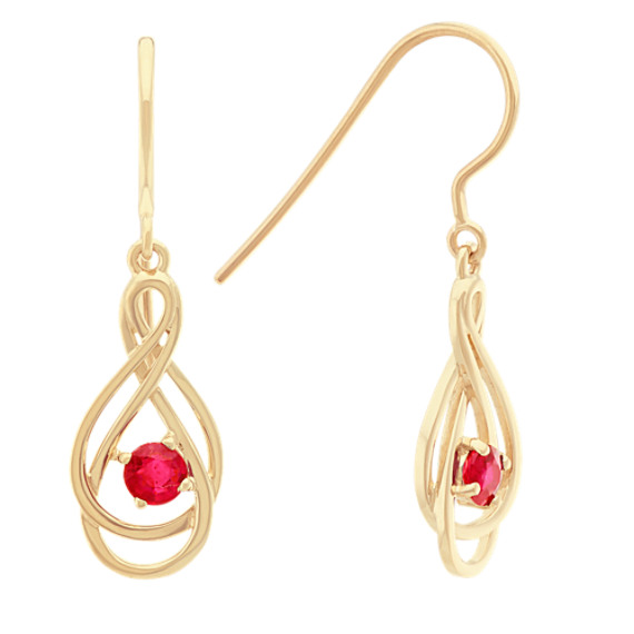 Round Ruby Dangle Earrings in 14k Yellow Gold