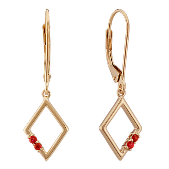 Round Ruby Leverback Earrings in 14k Yellow Gold