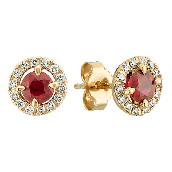 Round Ruby and Diamond Earrings in 14k Yellow Gold