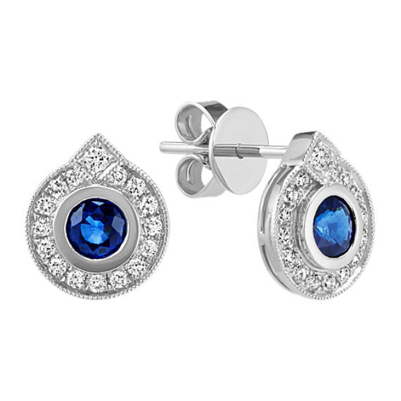 Round Sapphire and Diamond Halo Earrings in 14k White Gold