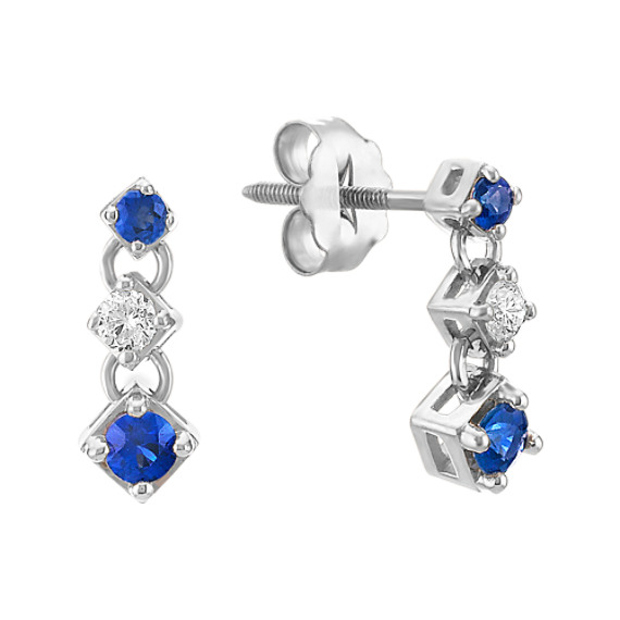 Round Sapphire and Diamond Three-Stone Earrings
