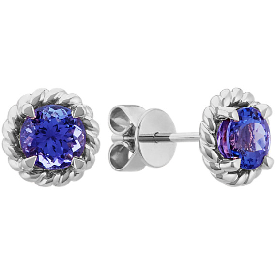 Round Tanzanite Earrings in 14k White Gold