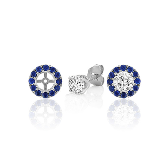 Round Traditional Blue Sapphire Earring Jackets image