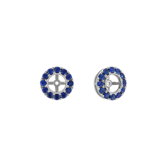 Round Traditional Blue Sapphire Earring Jackets