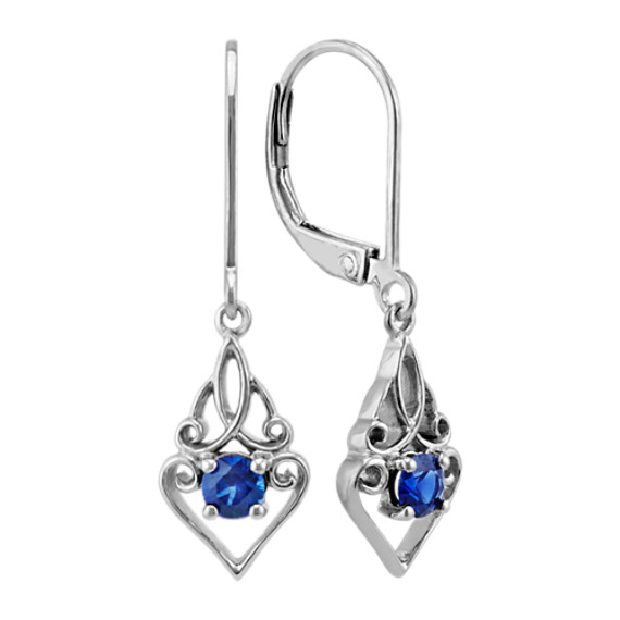 Round Traditional Sapphire Swirl Dangle Earrings in Sterling Silver