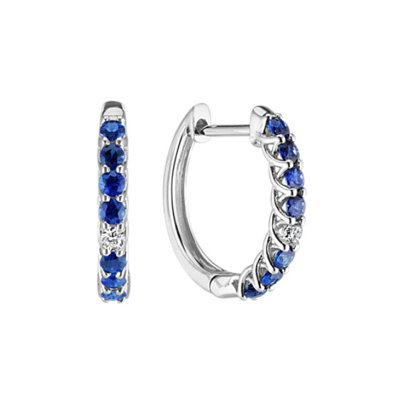 Round Traditional Sapphire and Diamond Hoop Earrings