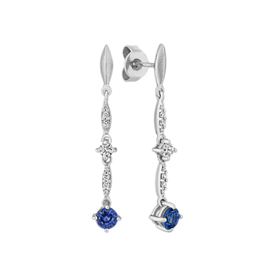 Round Traditional Sapphire and Round Diamond Dangle Earrings