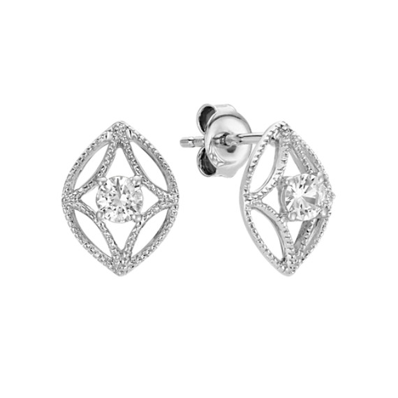Round White Sapphire Earrings with Milgrain Detailing