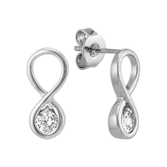 Round White Sapphire Infinity Earrings