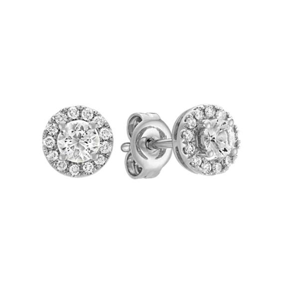 Round White Sapphire and Round Diamond Earrings