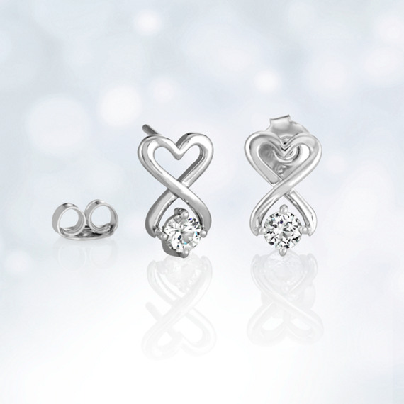 Round White Sapphire and Sterling Silver Heart Earrings image